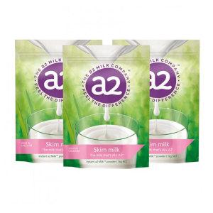 a2脱脂奶粉成人速溶高钙牛奶粉 1kg 3袋/箱 (保质期2022年4月)