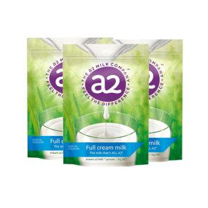 A2全脂奶粉成人速溶高钙牛奶粉 1kg 3袋/箱 (保质期2022年4月)