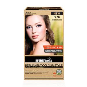 Aromaganic 5.30 纯天然染发膏染发剂 5.30度 金棕栗子色