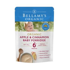 Bellamy's 贝拉米 有机苹果肉桂味辅食 米粉米糊 6+ 125g