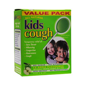 Kids Cough 系列儿童咳嗽苹果口味棒棒糖 10支装