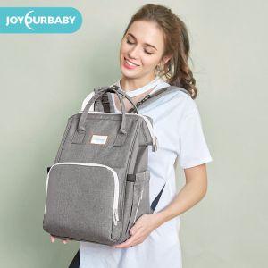 joyourbaby佳韵宝时尚妈咪包 2019年新款 双肩多功能大容量妈妈包 外出母婴包 烟雨灰