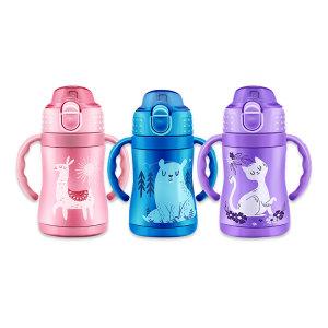 BUMKINS儿童吸管真空保温杯240ml 吸管杯 配带手柄 宝宝易握 粉红色