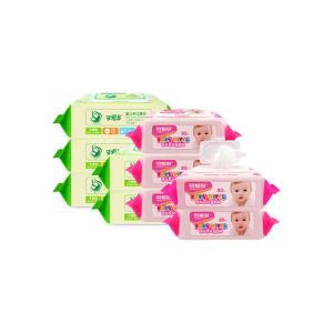 可爱多婴儿湿巾80抽带盖*5包(400片) 婴儿手口柔湿巾80抽带盖*5(粉色)